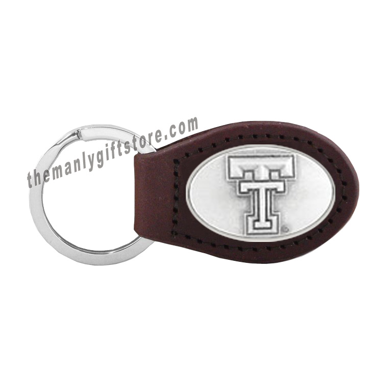 Texas Tech Zep-Pro Leather Concho Key Fob Brown, Camo or Black
