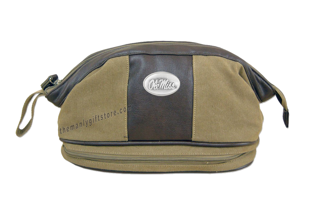 Ole Miss Zep Pro Khaki Canvas Concho Toiletry Bag