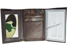 Load image into Gallery viewer, North Carolina State NCS Mossy Oak Camo Zep Pro Trifold Leather Wallet
