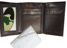 Load image into Gallery viewer, New Orleans Fleur De Lis Mossy Oak Camo Zep Pro Trifold Leather Wallet
