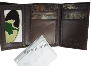 South Carolina Palmetto Tree Mossy Oak Camo Zep Pro Trifold Leather Wallet