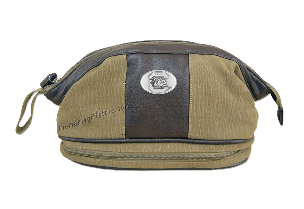 South Carolina Zep Pro Khaki Canvas Concho Toiletry Bag