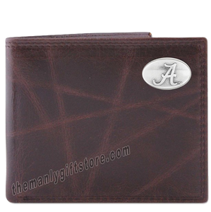 Alabama Crimson Tide Wrinkle Zep Pro Leather Bifold Wallet