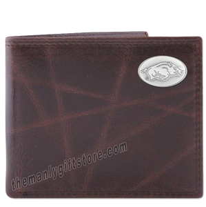 Arkansas Razorbacks Wrinkle Zep Pro Leather Bifold Wallet