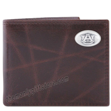 Load image into Gallery viewer, Auburn Tigers Wrinkle Zep Pro Leather Bifold Wallet