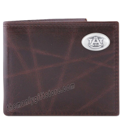 Auburn Tigers Wrinkle Zep Pro Leather Bifold Wallet