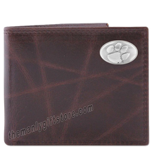 Load image into Gallery viewer, Clemson Tigers Wrinkle Zep Pro Leather Bifold Wallet