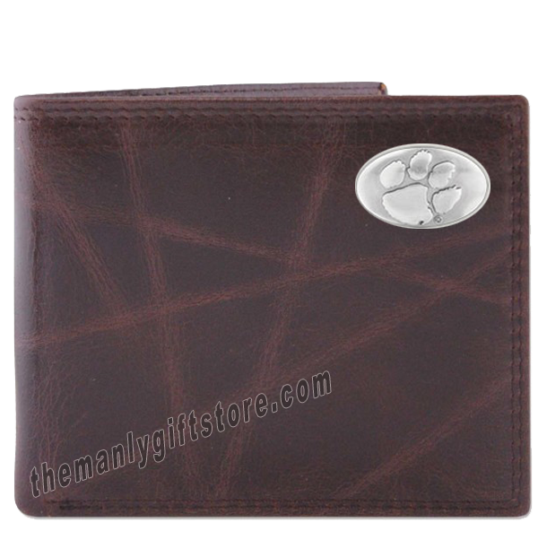 Clemson Tigers Wrinkle Zep Pro Leather Bifold Wallet