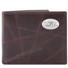 Load image into Gallery viewer, Louisiana State University LSU Wrinkle Zep Pro Leather Bifold Wallet