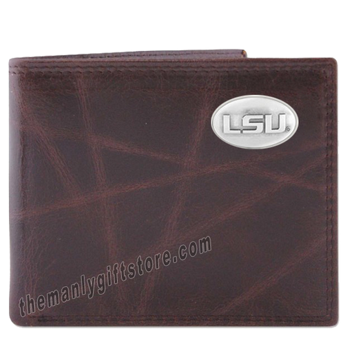Louisiana State University LSU Wrinkle Zep Pro Leather Bifold Wallet