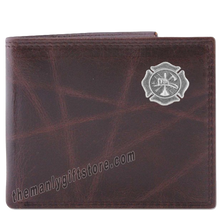 Load image into Gallery viewer, Maltese Cross Fireman Wrinkle Zep Pro Leather Bifold Wallet