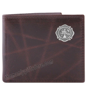 Maltese Cross Fireman Wrinkle Zep Pro Leather Bifold Wallet