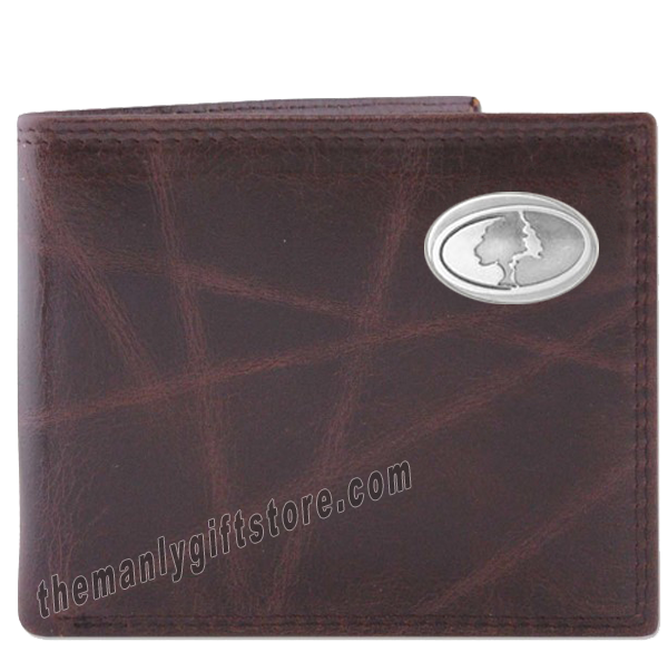 Mossy Oak Logo Wrinkle Zep Pro Leather Bifold Wallet