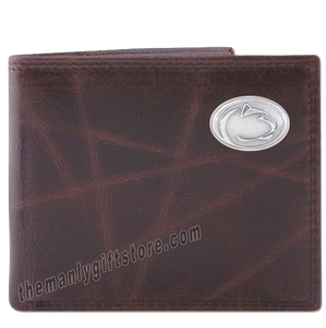 Penn State Nittany Lion Wrinkle Zep Pro Leather Bifold Wallet