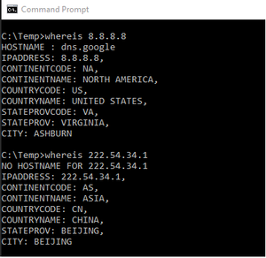WhereIs.exe GEO-Location command line utility