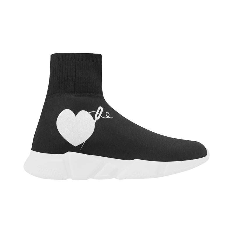 BLACK PULL ON WOMEN'S SOCK SNEAKERS