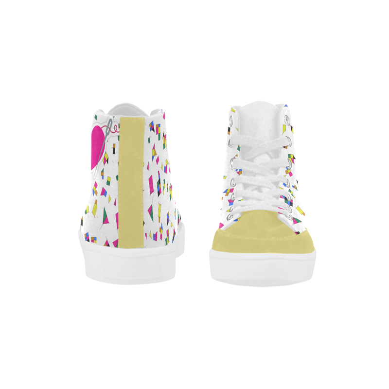 MISS BIANCA'S GEOMETRY PATTERN HIGH ANKLE CANVAS GIRLS' SNEAKERS (sz 5-12)