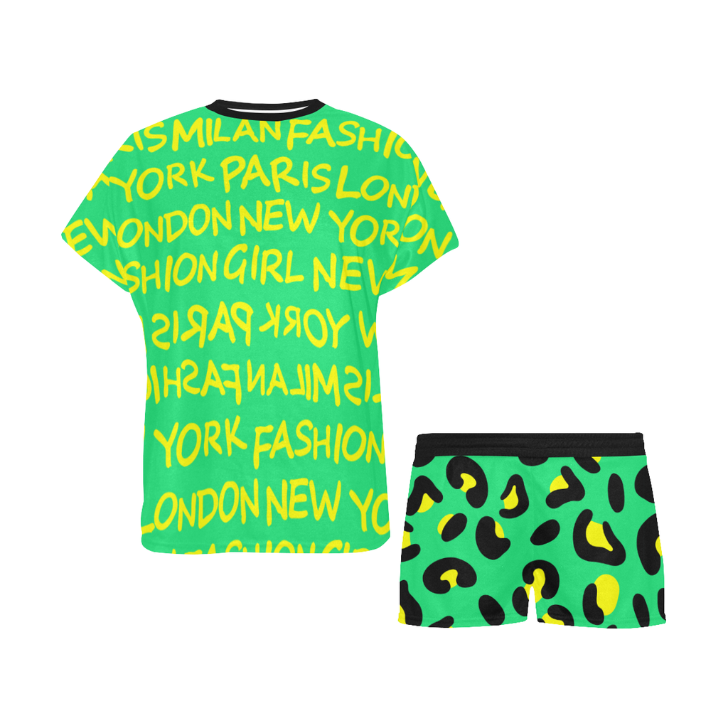 FASHION GIRL GRAFFITI GREEN PAJAMA SHORT SET