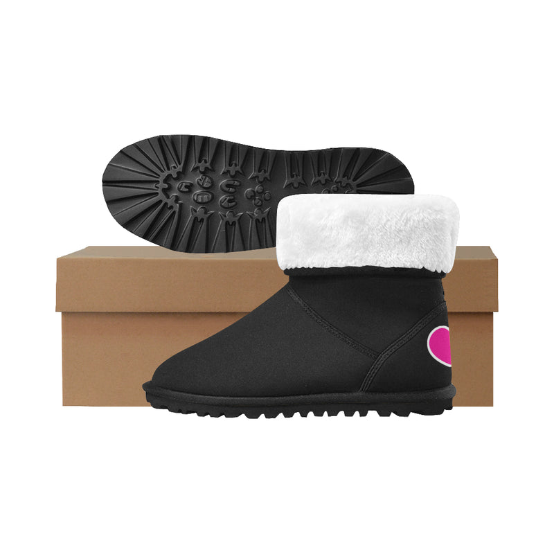 WARM & FUZZY HEART AND NEEDLE KIDS' SNOW BOOT - black