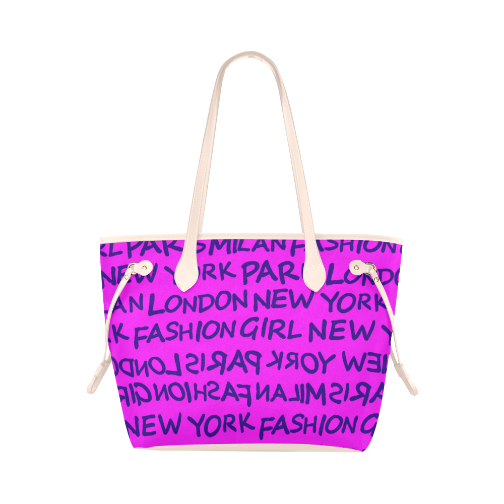 FASHION GIRL GRAFFITI NEVERFULL CANVAS TOTE BAG-PINK