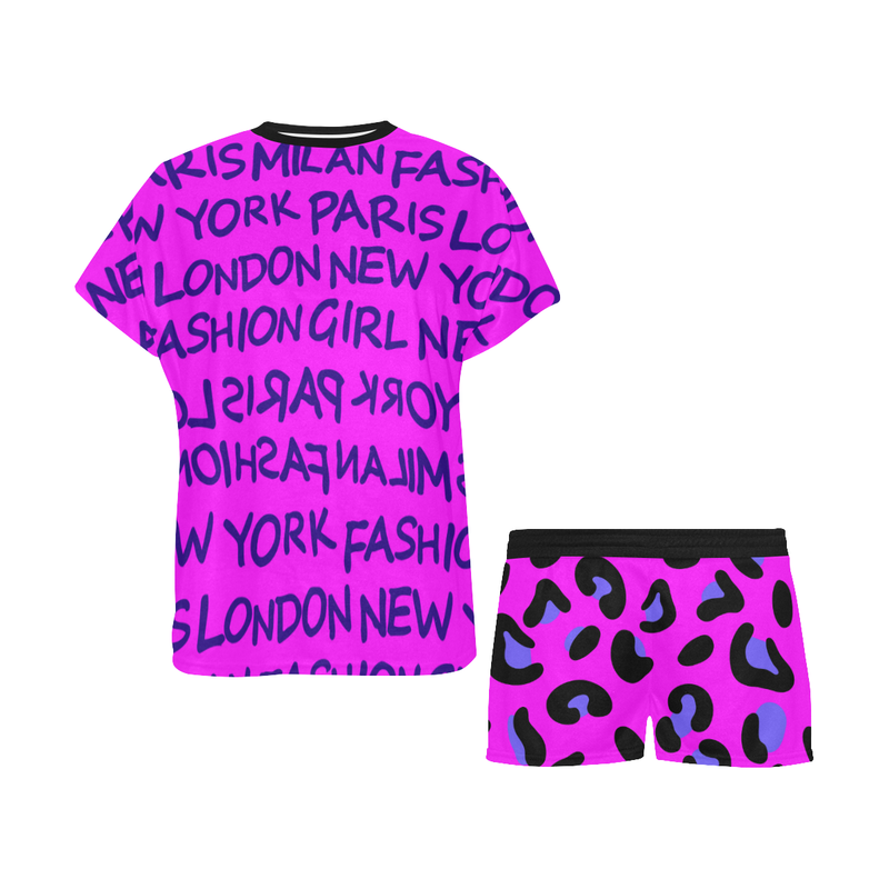 FASHION GIRL GRAFFITI PINK PAJAMA SHORT SET