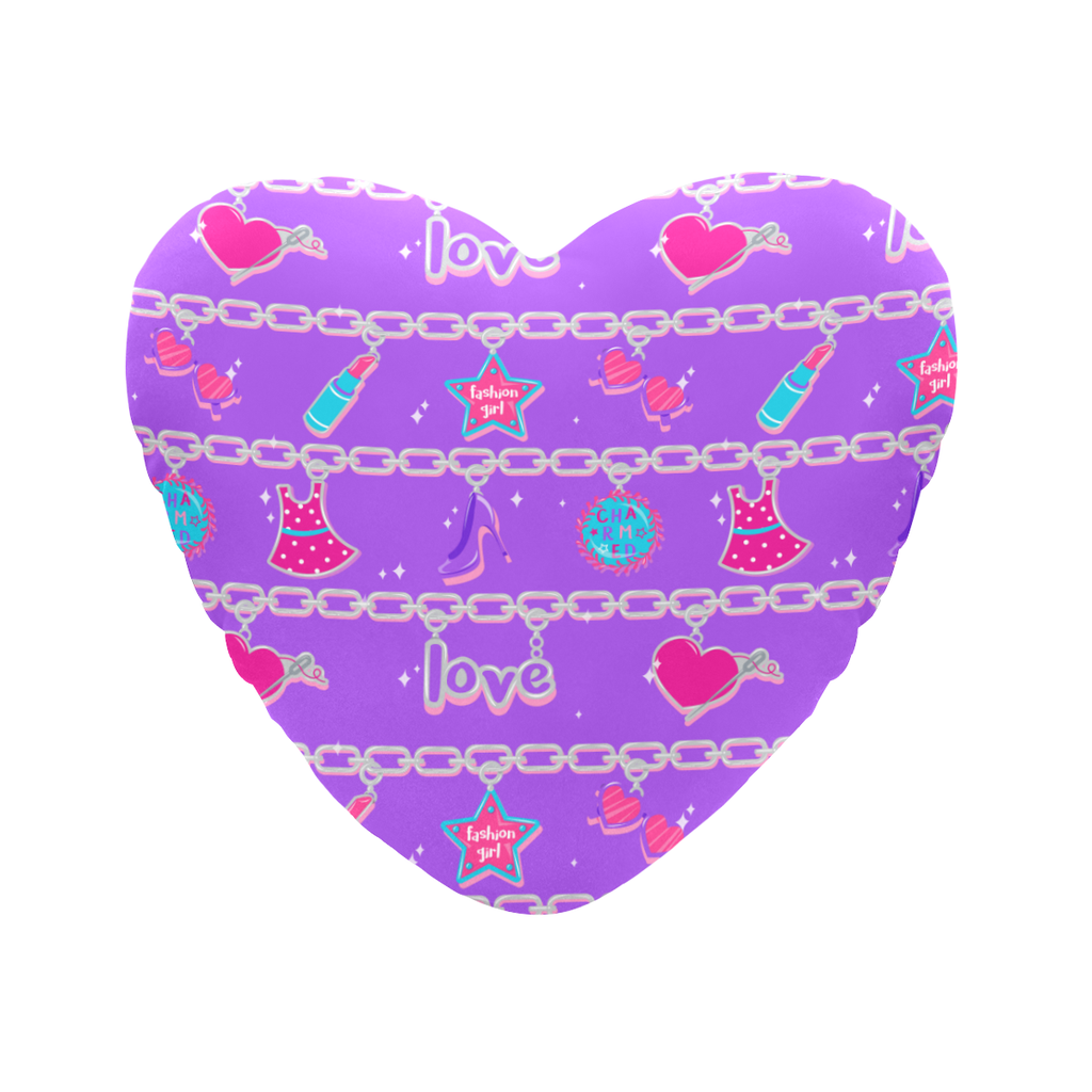 CHARMED HEART SHAPED PILLOW- PURPLE