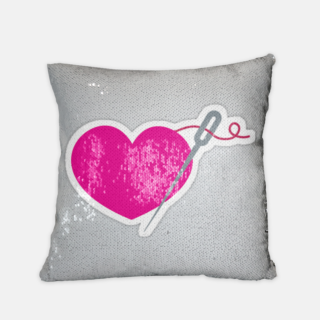 HEART AND NEEDLE sequin reversible pillow case