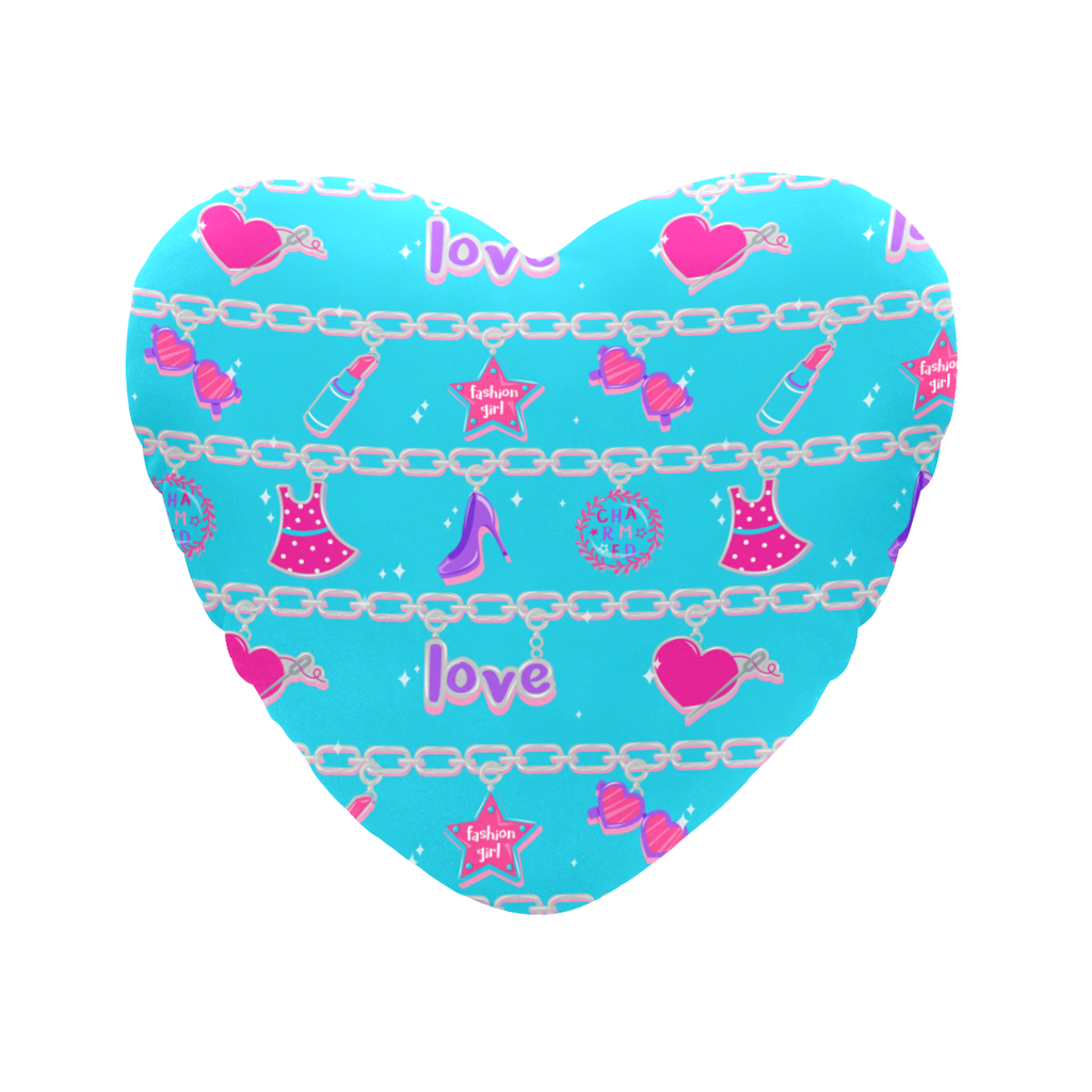 CHARMED HEART SHAPED PILLOW- TEAL