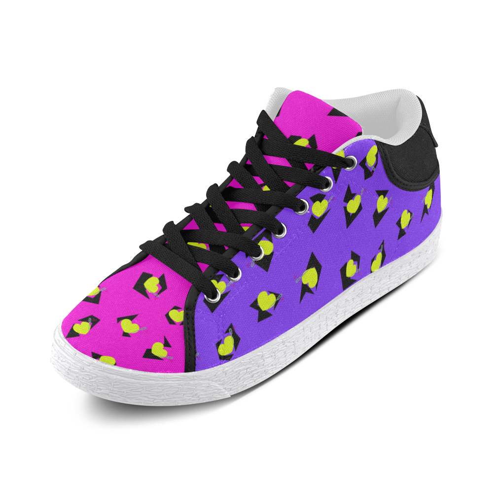 TOTALLY 80S PINK/PURPLE MID TOP CANVAS GIRLS' SNEAKERS (sz 5-11)