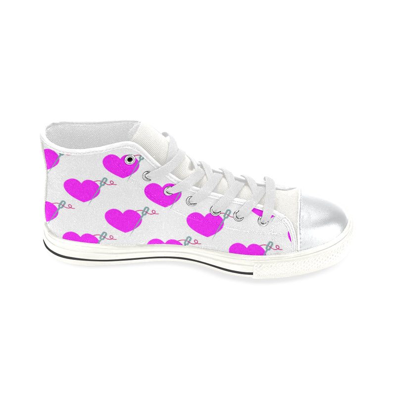 HEART AND NEEDLE HIGH TOP CANVAS GIRLS' SNEAKERS
