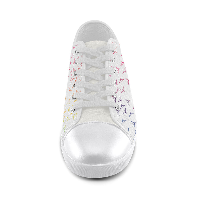 RAINBOW HANGERS LOW TOP CANVAS GIRLS' SNEAKERS (sz 5-12)