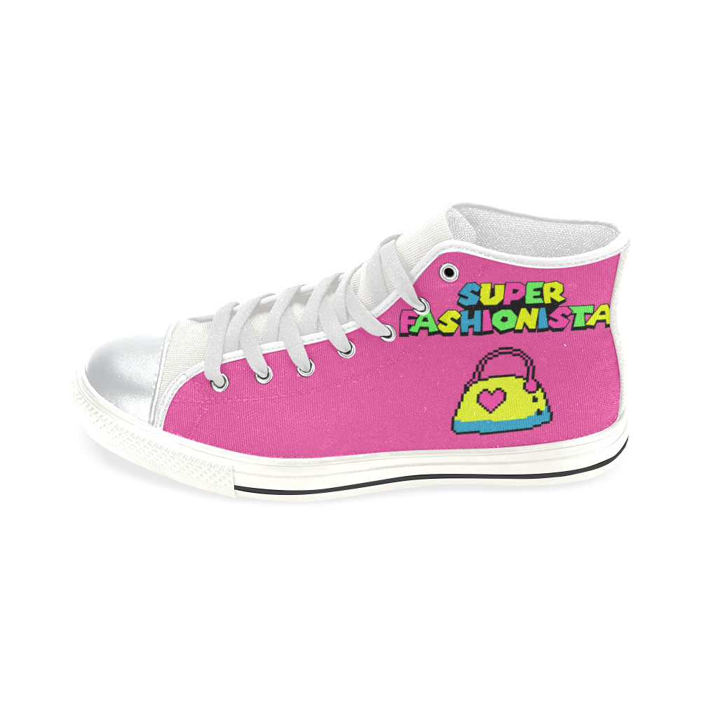 SUPER FASHIONISTA HIGH TOP CANVAS GIRLS' SNEAKERS RASPBERRY