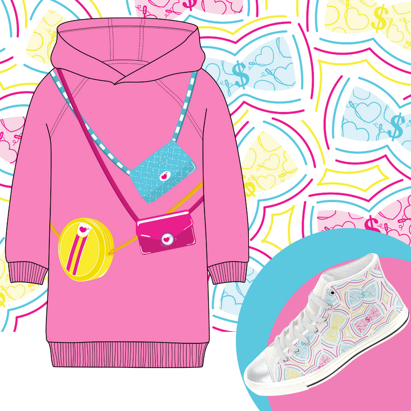 HIGH TOP CANVAS SNEAKERS AND HOODIE DRESS