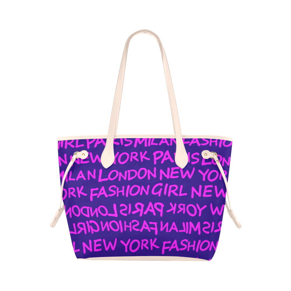 FASHION GIRL GRAFFITI NEVERFULL CANVAS TOTE BAG-PURPLE