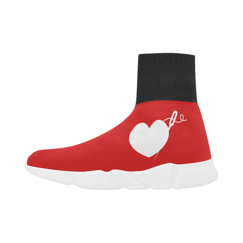 RED PULL ON WOMEN'S SOCK SNEAKERS
