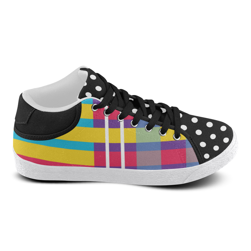 MERRY PLAID MIXIE MID TOP CANVAS GIRLS' SNEAKERS (sz 5-11)