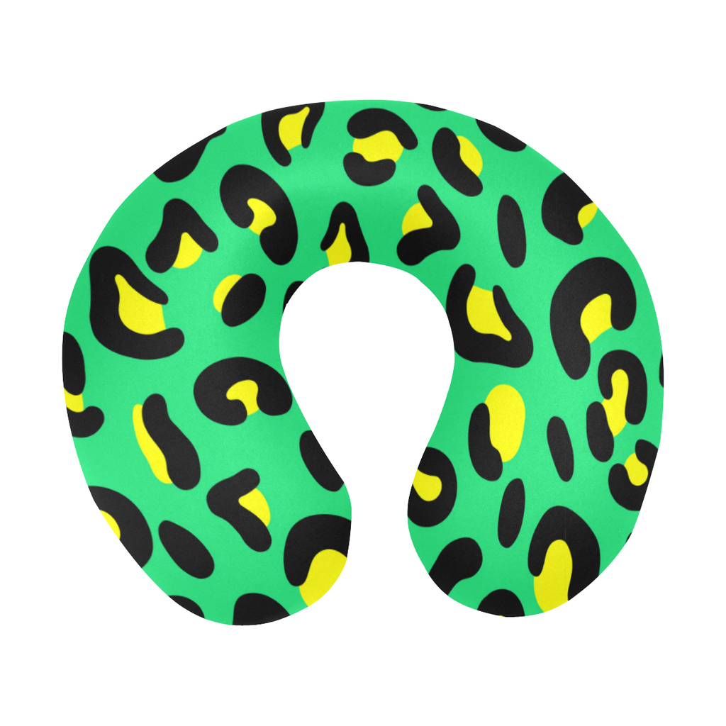 GREEN LEOPARD TRAVEL PILLOW