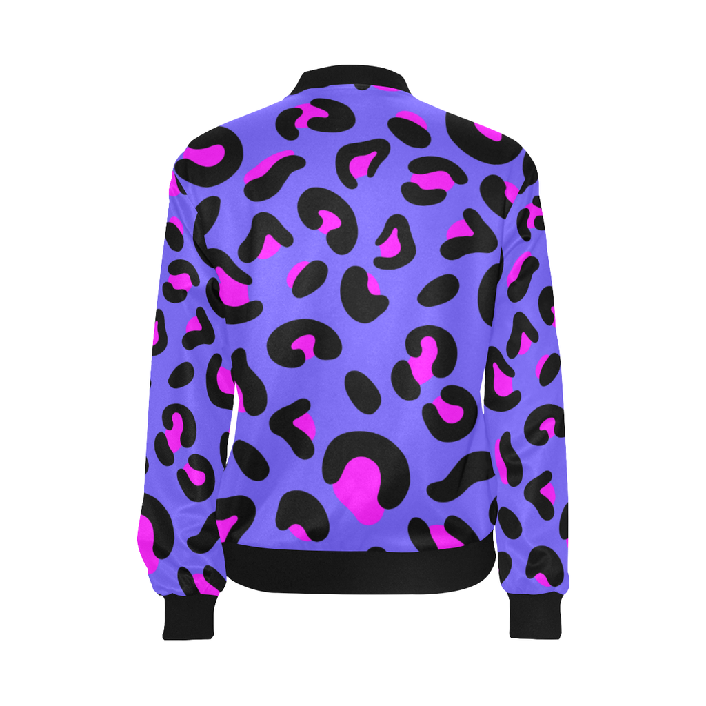 FASHION GIRL PURPLE LEOPARD LIGHTWEIGHT BOMBER JACKET