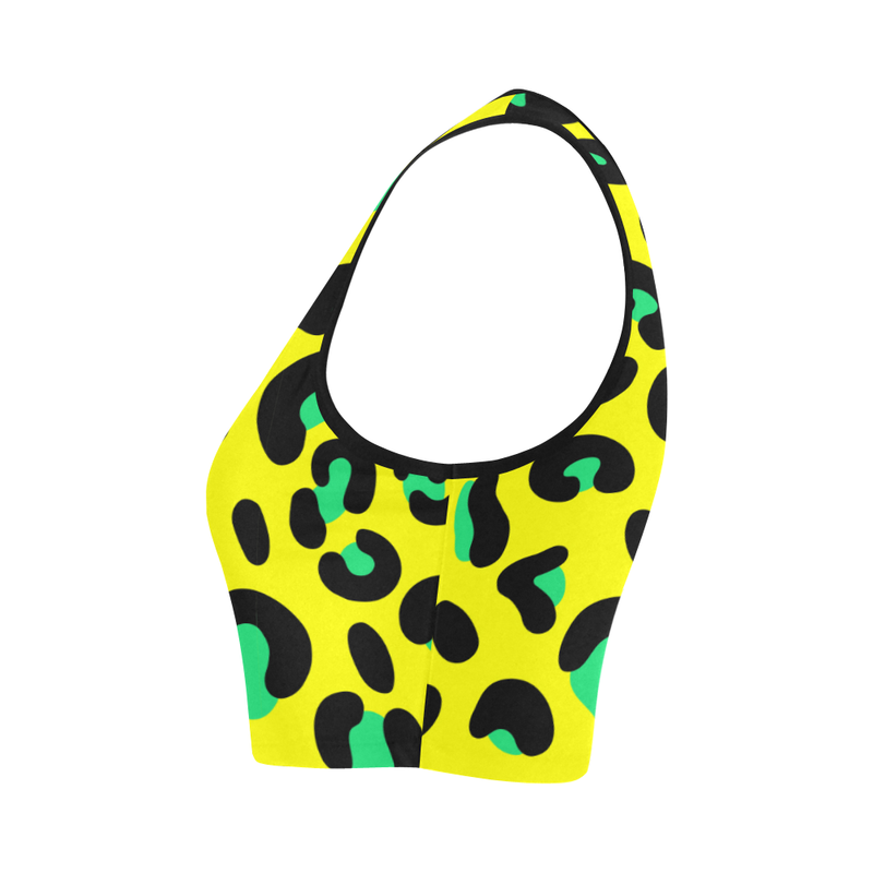 YELLOW LEOPARD FITNESS CROP TOP