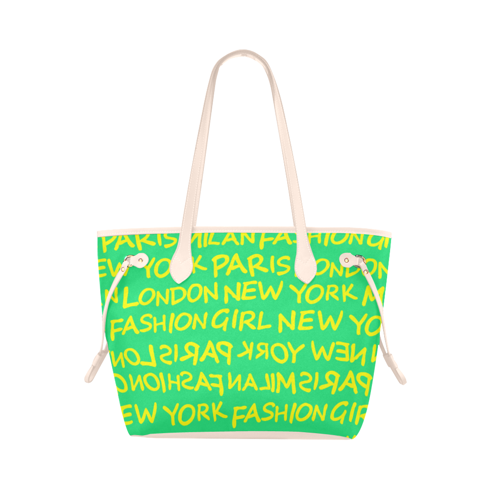 FASHION GIRL GRAFFITI NEVERFULL CANVAS TOTE BAG-GREEN