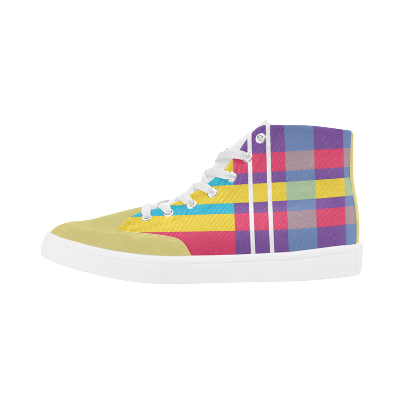 MERRY PLAID HIGH ANKLE CANVAS GIRLS' SNEAKERS (sz 5-12)