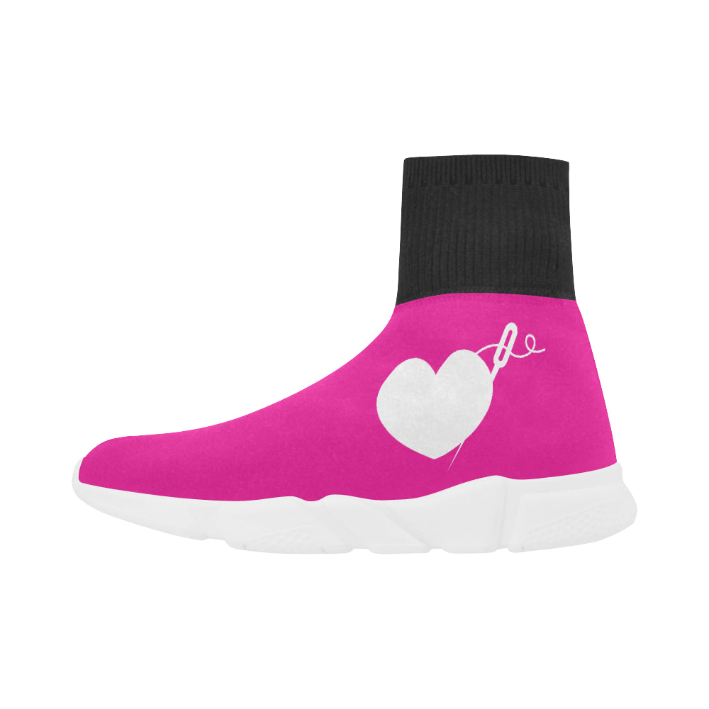 PINK PULL ON SOCK GIRLS' SNEAKERS (sz 5-12)
