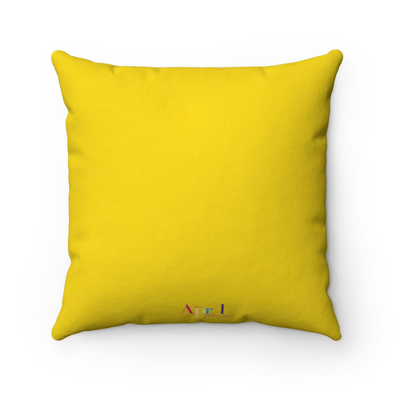 HEART AND NEEDLE Square Pillow Case (gold)