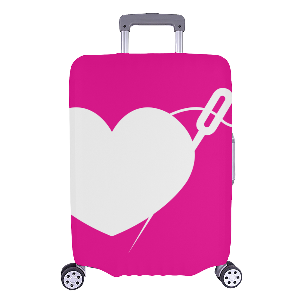 PINK HEART AND NEEDLE LUGGAGE COVER - LARGE