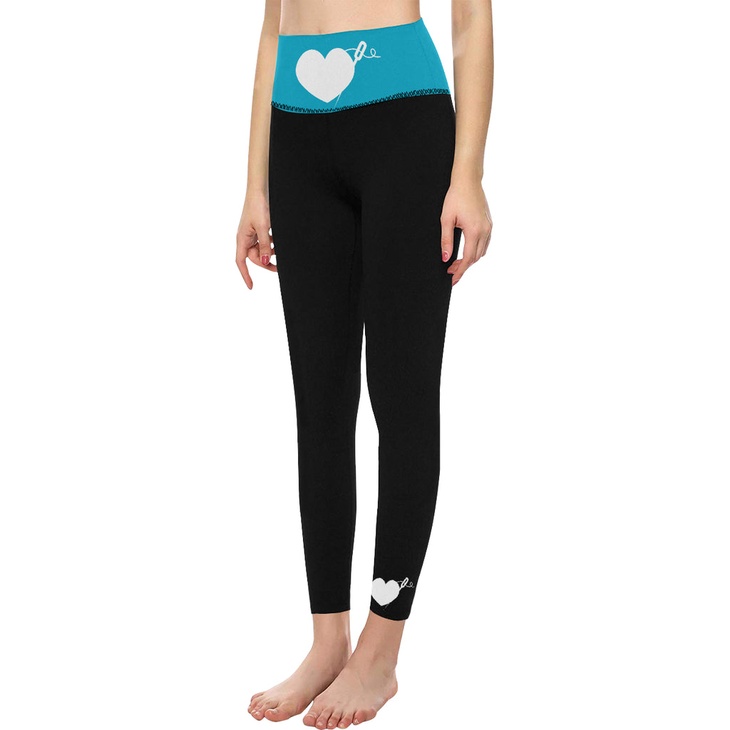 HIGH WAIST YOGA LEGGINGS - TEAL