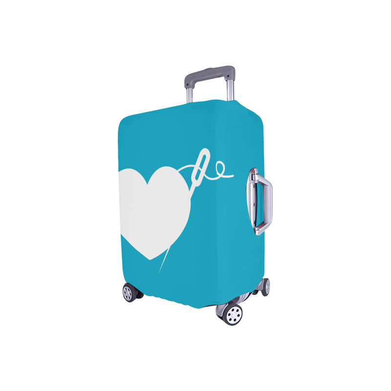 TEAL HEART AND NEEDLE LUGGAGE COVER - SMALL
