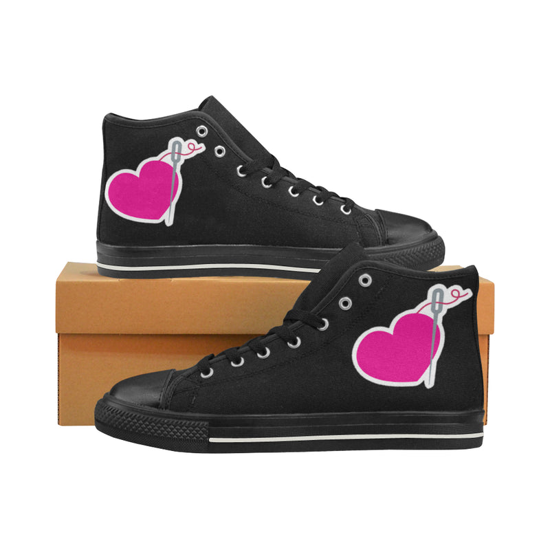 HEART AND NEEDLE HIGH TOP CANVAS SNEAKERS FOR KIDS
