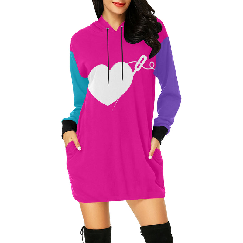 COLOR BLOCK HOODIE DRESS