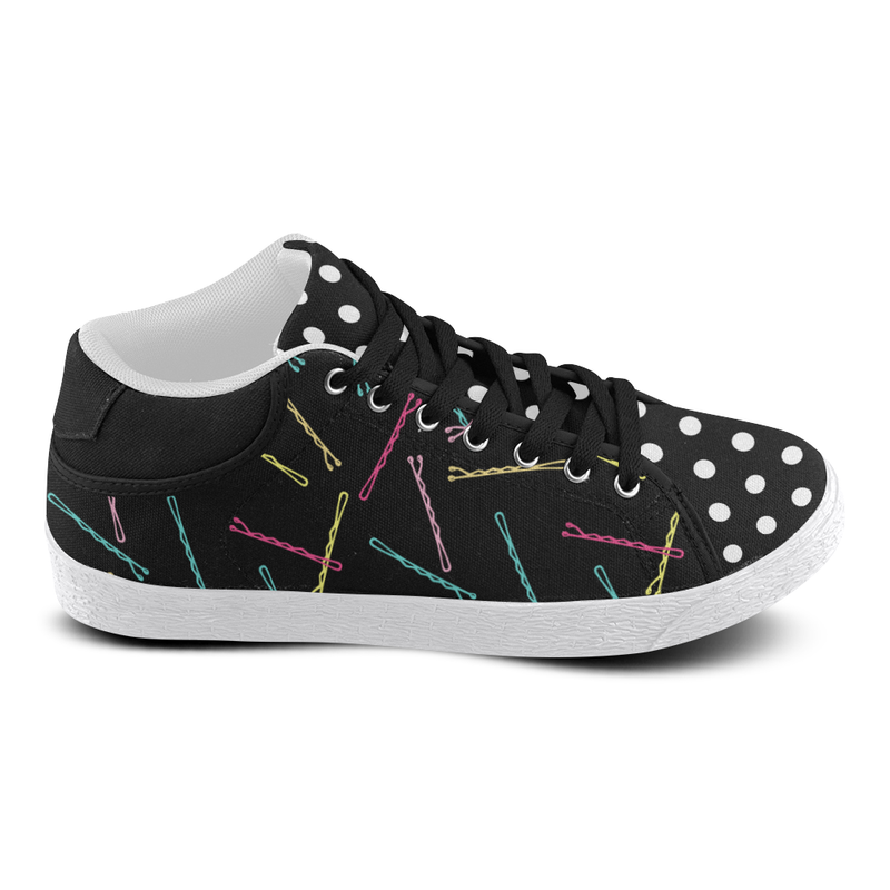 I GOT 99 BOBBY PINS MIXIE MID TOP CANVAS GIRLS' SNEAKERS (sz 5-11)