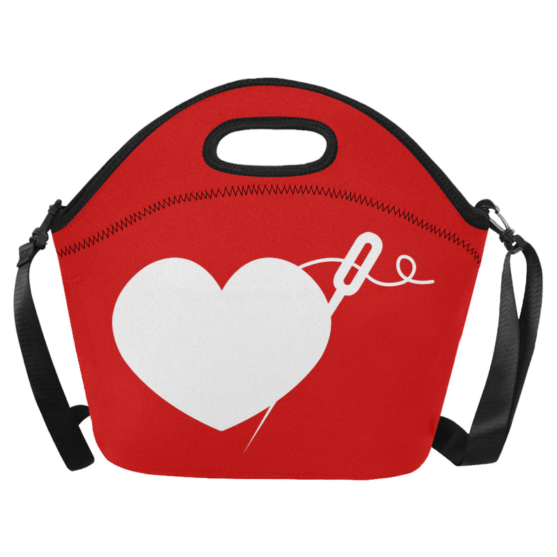 HEART AND NEEDLE NEOPRENE LUNCH TOTE WITH STRAP (5 COLORS)